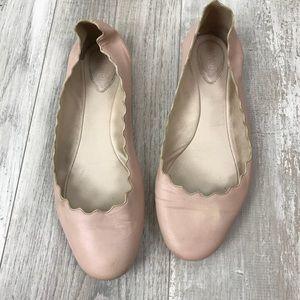 Chloe Lauren Scalloped Ballet Flats Sz. 8/38